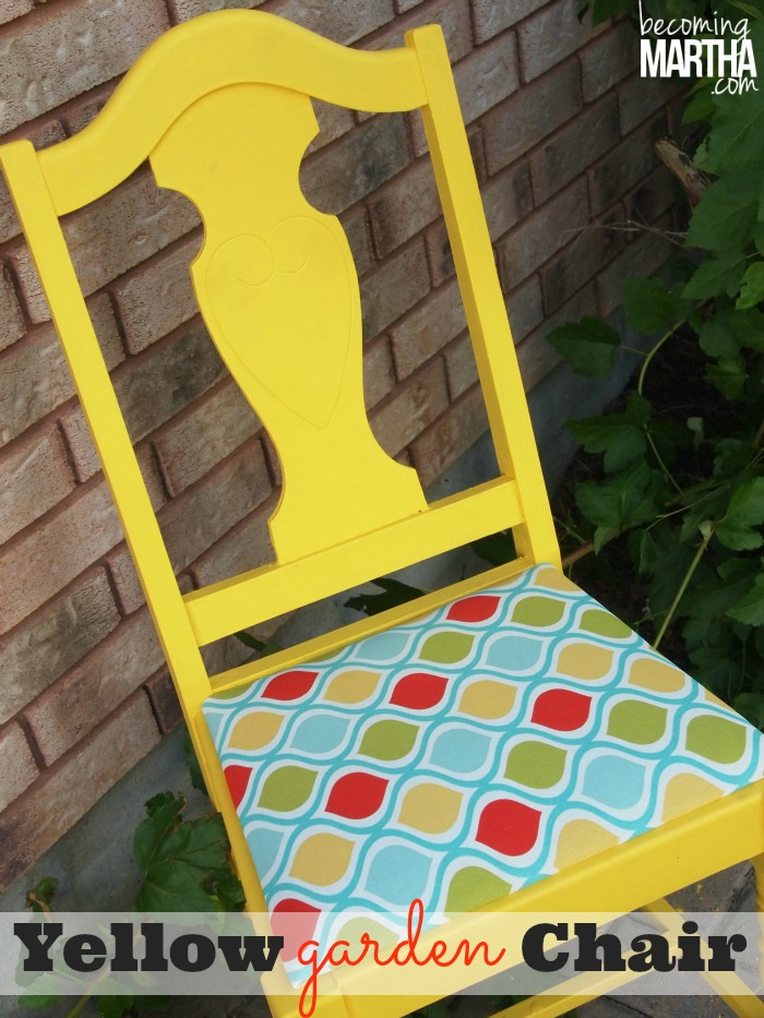 Yellow upcycled reupolstered chair