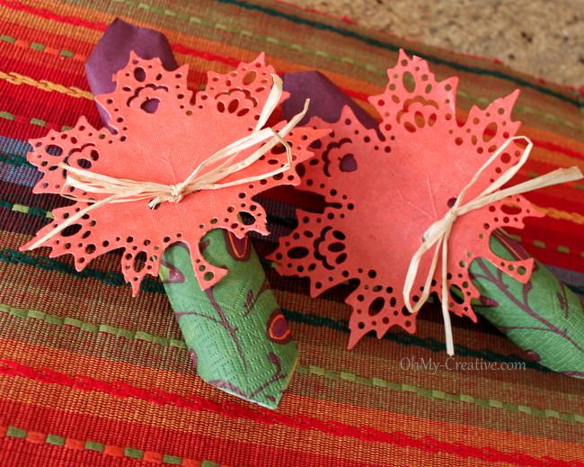 Fall Doily Leaf Napkin Ring - OhMy-Creative.com