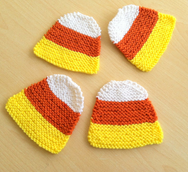 Hand Knit Candy Corn Coasters 15 Candy Corn Desserts & Crafts - OhMy-Creative.com | Candy Corn Cupcakes | Candy Corn Desserts | Candy Corn Crafts | Halloween Rice Krispie Treats | Halloween Treats | Candy Corn Marshmallows | Candy Corn Recipe