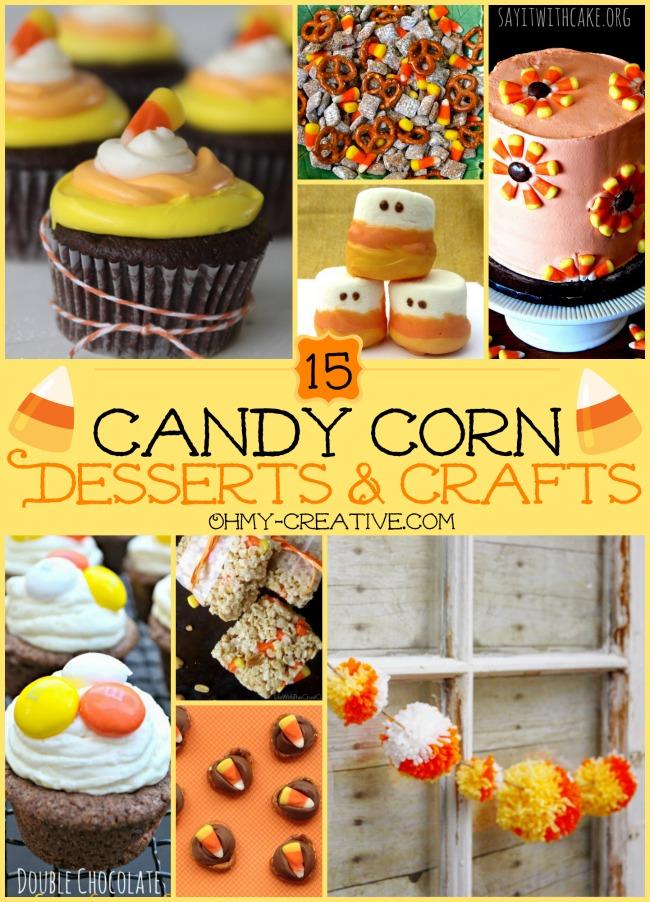15 Candy Corn Desserts & Crafts - OhMy-Creative.com | Candy Corn Cupcakes | Candy Corn Desserts | Candy Corn Crafts | Halloween Rice Krispie Treats | Halloween Treats | Candy Corn Marshmallows | Candy Corn Recipe | Candy Corn Cookies