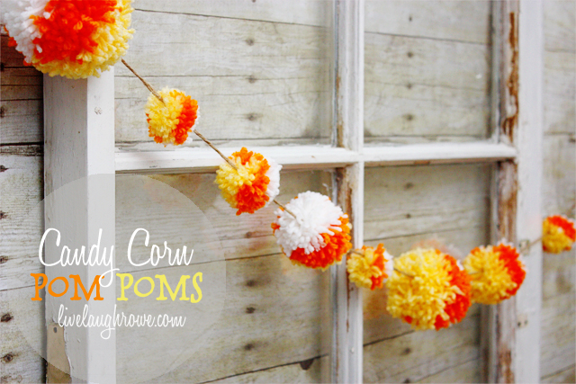 Candy Corn Pom Poms. 15 Candy Corn Desserts & Crafts - OhMy-Creative.com | Candy Corn Cupcakes | Candy Corn Desserts | Candy Corn Crafts | Halloween Rice Krispie Treats | Halloween Treats | Candy Corn Marshmallows | Candy Corn Recipe