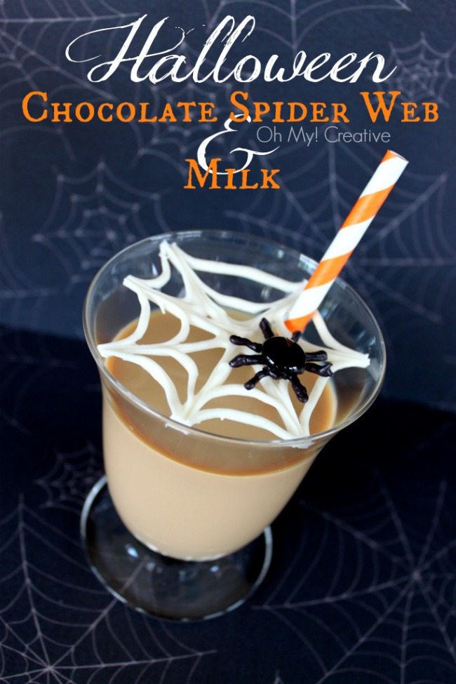 Chocolate Spider Web with Chocolate Milk - OhMy-Creative.com