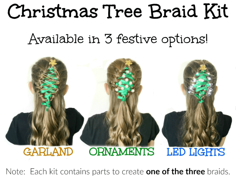 Christmas Tree Hair Braid Kits for festive Christmas hairstyles for the young and the young at heart! Great for Ugly Sweater Parties too! | OHMY-CREATIVE.COM