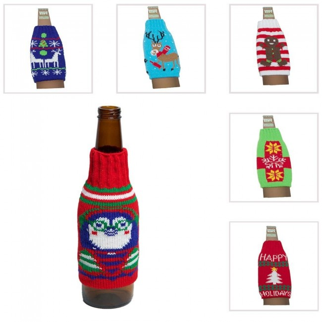 Ugly Christmas Sweater Beer Bottle Covers