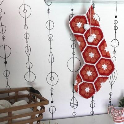 African Flower Crochet Stocking