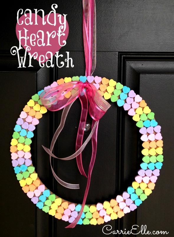 Candy-Conversation Heart-Wreath-Craft