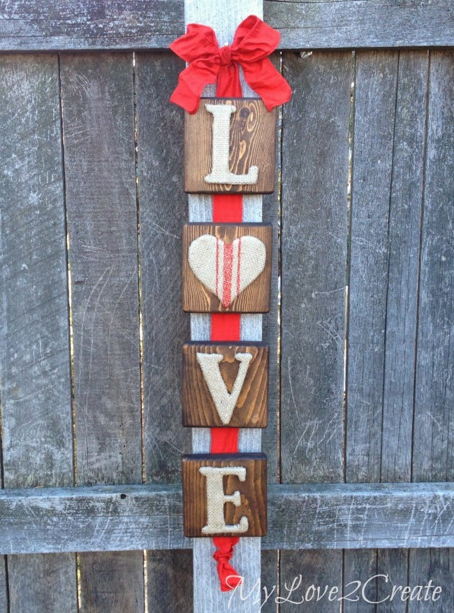 Love Valentine's Day Burlap Sign - MyLove2Create