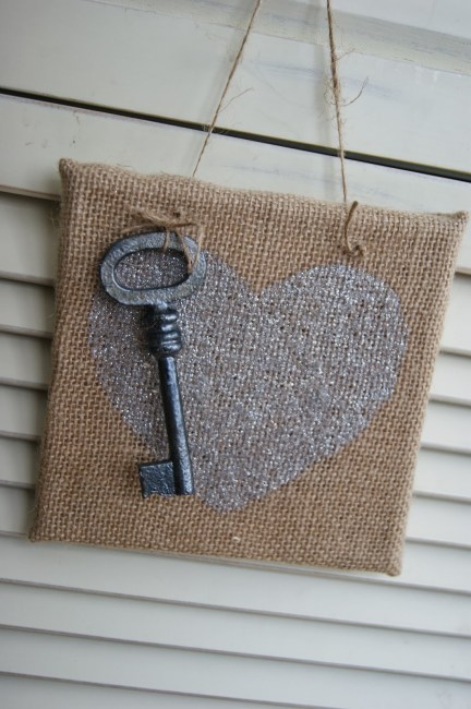 Burlap Heart Artwork