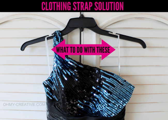 An easy Clothing Strap Solution, without cutting them off, so they can be used to hang the garment later! | OHMY-CREATIVE.COM