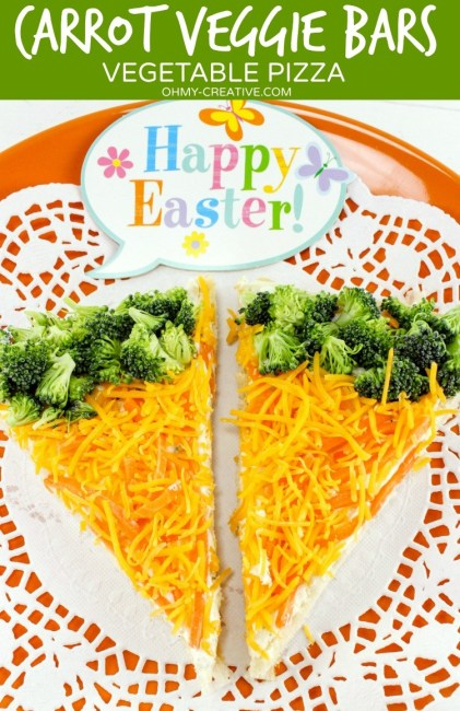 "Easter Vegetable Pizza featuring broccoli and cheese in a creative healthy ""rabbit"" like treat"