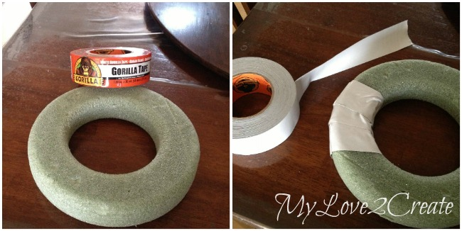 Wreath form and gorilla tape