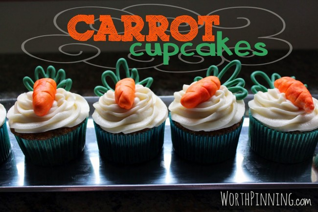 Carrot Cupcakes with Edible Carrot Toppers