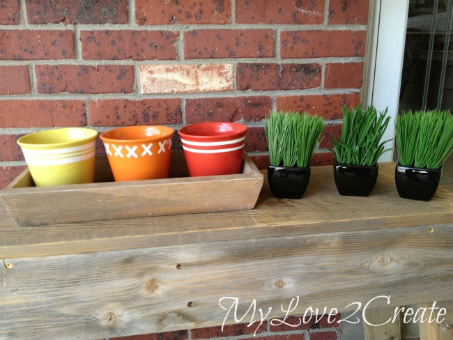 DIY Tapered Tray and Dollar Store Pots dressed up with contact paper