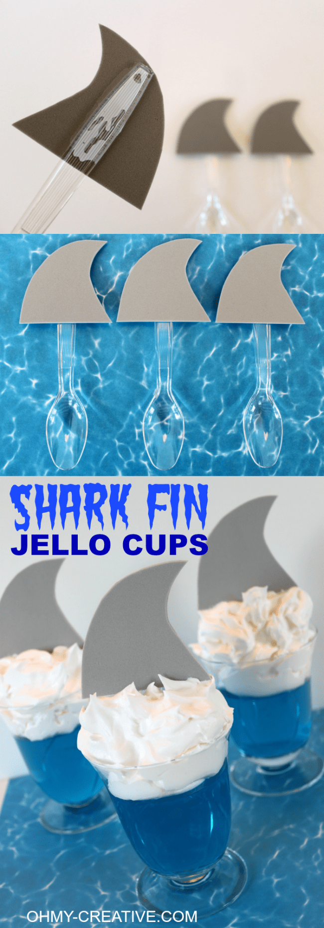Shark Fin Jell-O Cups for shark or summer theme party theme. These are super cute and so easy to make for the kids! | OHMY-CREATIVE.COM