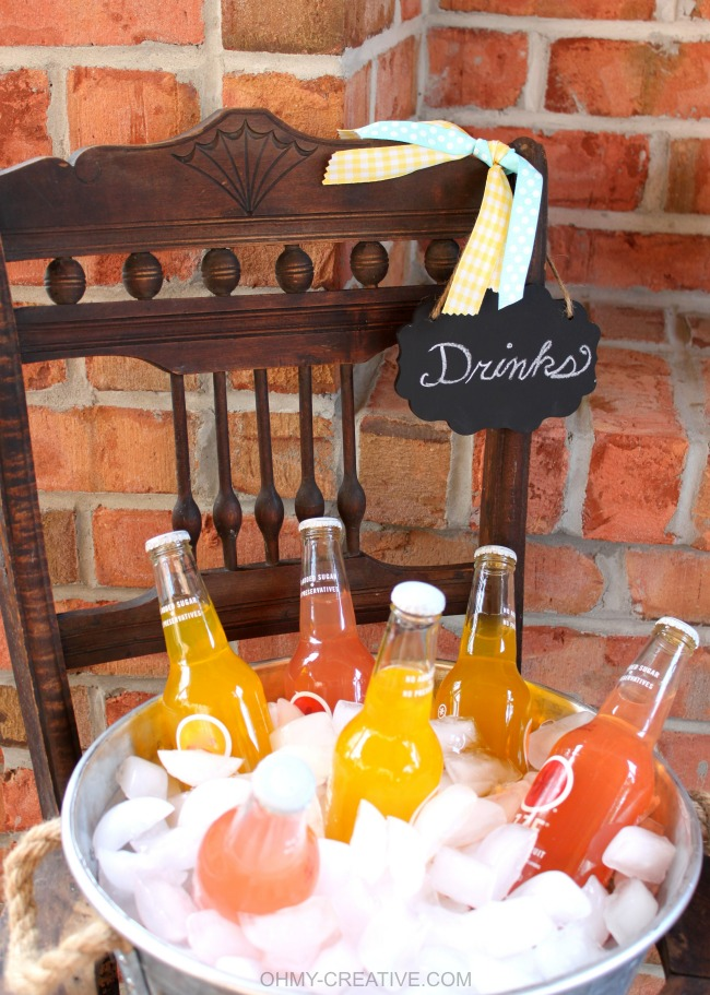 Upcycle an old vintage chair into a pretty drink stand! Perfect for entertaining, parties or bridal showers!