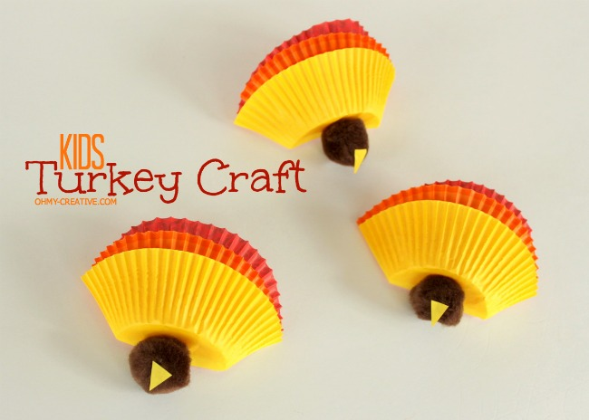 Kids Thanksgiving Turkey Craft using cupcake liners and pom poms