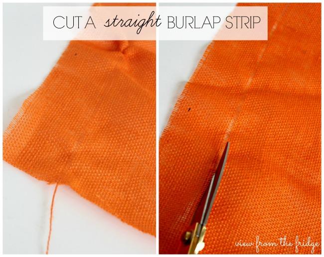 Easy fall DIY decor idea - How to cut straight burlap strips