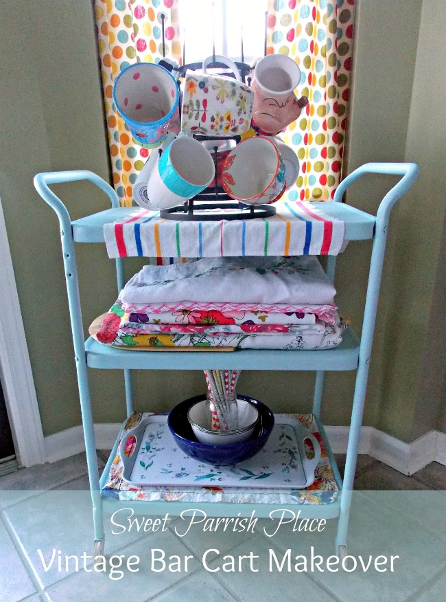 vintage bar cart makeover