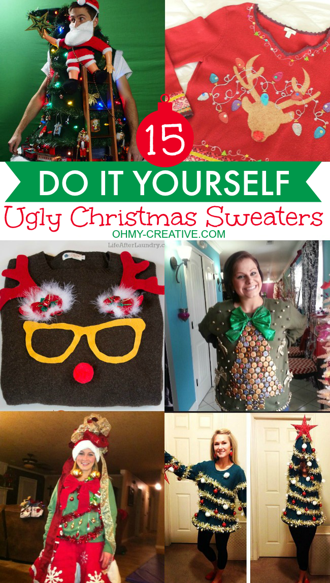 15 diy ugly christmas sweaters ohmy creativecom ugly christmas sweater