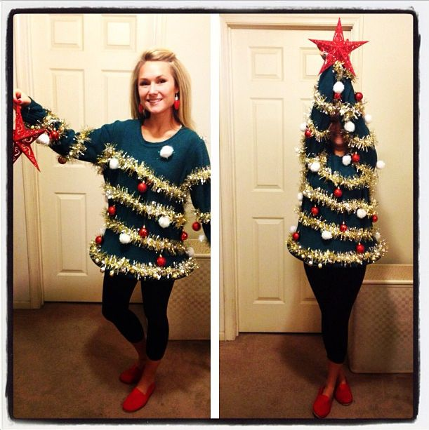 Christmas Tree ugly Sweater - 15 Do It Yourself Ugly Christmas Sweaters - Oh My Creative