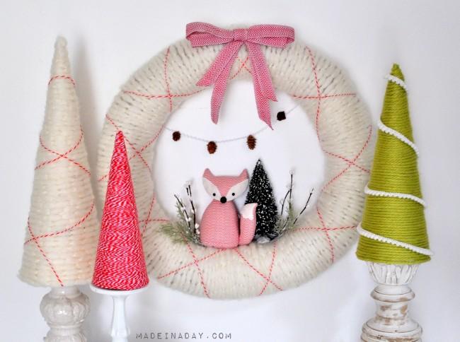 Fox-Wreath-and-Easy-Yarn-Trees-madeinaday.com