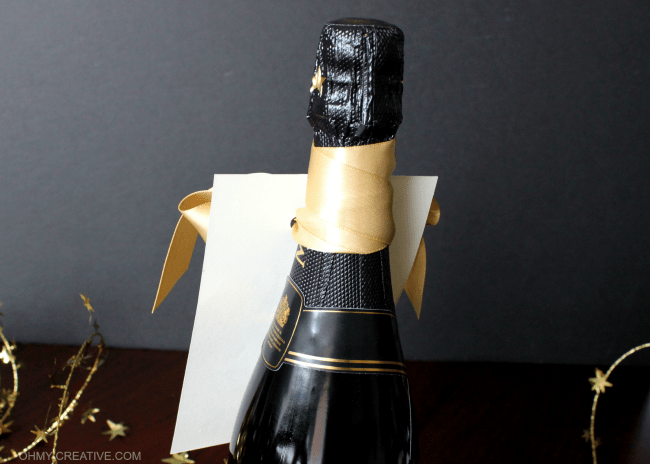 Gold Satin Ribbon with Free Printable Champagne Gift Tag | OHMY-CREATIVE.COM