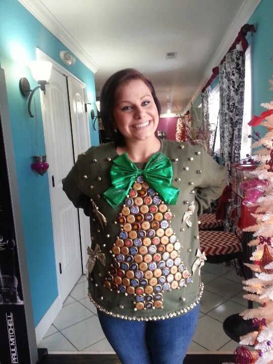 Ugly Christmas Sweater Made from Bottle Caps - 15 Do It Yourself Ugly Christmas Sweaters - Oh My Creative