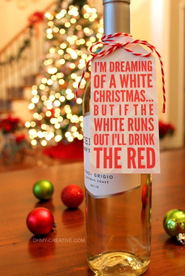 Free Christmas Wine Bottle Gift Tag Printable