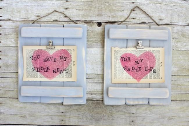 DIY Valentine's Picture Pallet Art