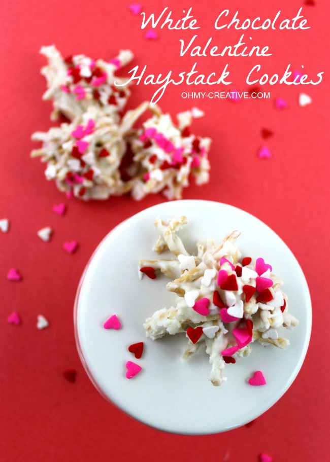 A cute Valentine's twist on a favorite cookie! White Chocolate Valentine Haystacks Cookies | OHMY-CREATIVE.COM
