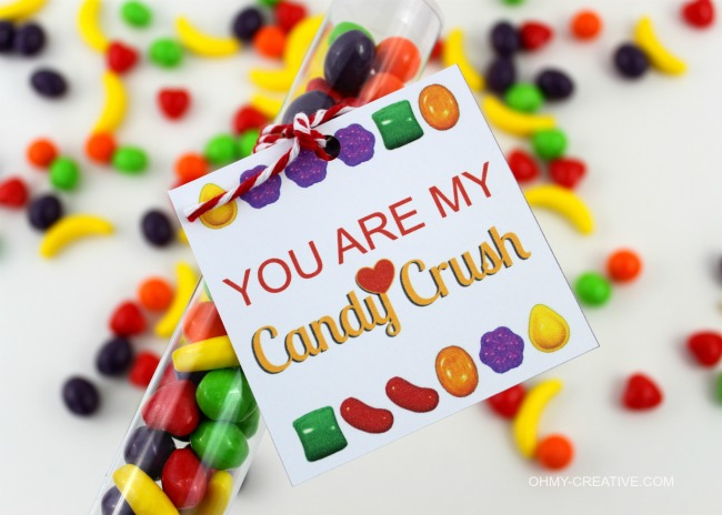 You Are My Candy Crush Free Printable Valentine Gift Idea and Tag | OHMY-CREATIVE.COM