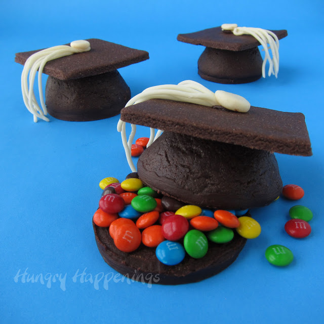 Graduation Cap Cookies, candy filled cookies, pinata cookies, graduation party food