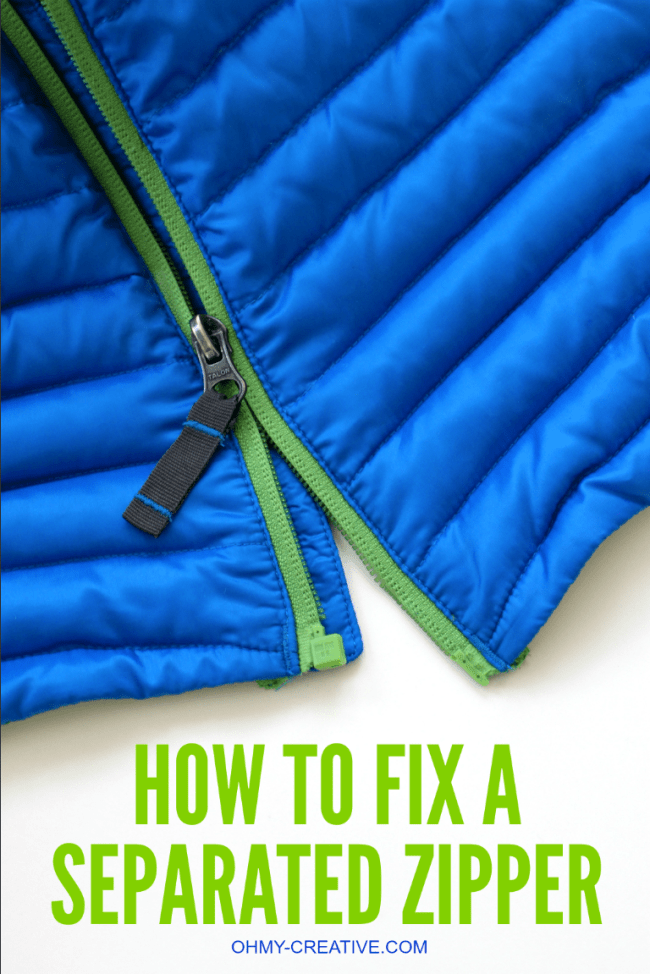 This is an easy Way to Fix a Separated Zipper! It can be hard to realign a zipper, but with this simple trick it can be repaired with little effort! | OHMY-CREATIVE.COM