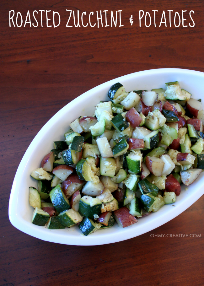 "This is one of my favorite ""go to"" recipes. Not only is this Roasted Zucchini and Potatoes Side Dish easy to make it is also delicious and compliments any main course! 