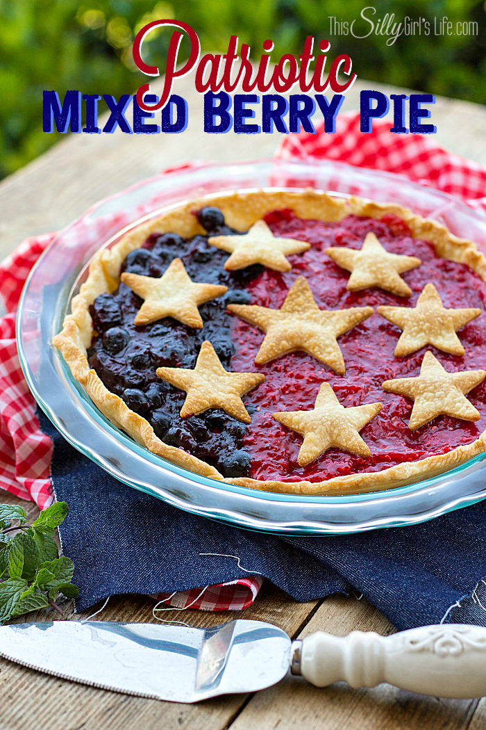 Patriotic Mixed Berry Pie from This Silly Girls Life