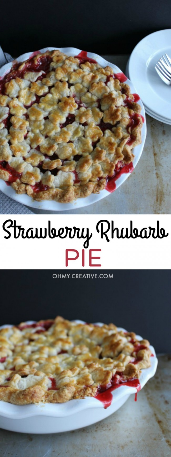 This Strawberry Rhubarb Pie features an all-butter, flaky crust with a sweet and tart filling made with fresh strawberries and rhubarb - YUM! | OHMY-CREATIVE.COM