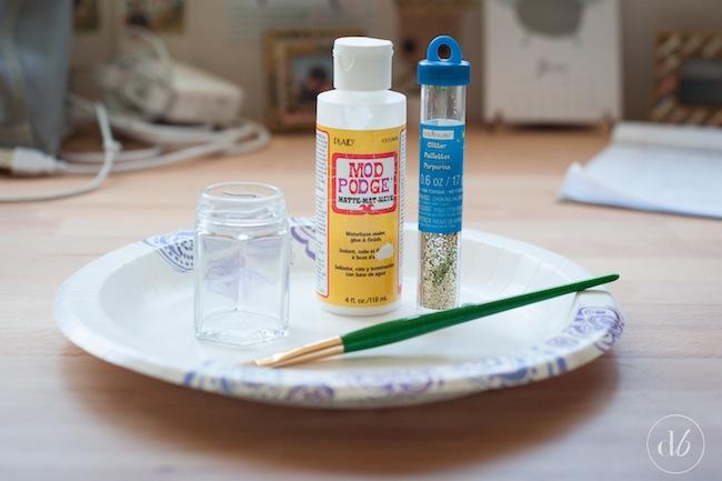 glitter makeup brush jar