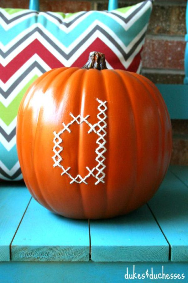 How to cross stitched a monogram on a pumpkin