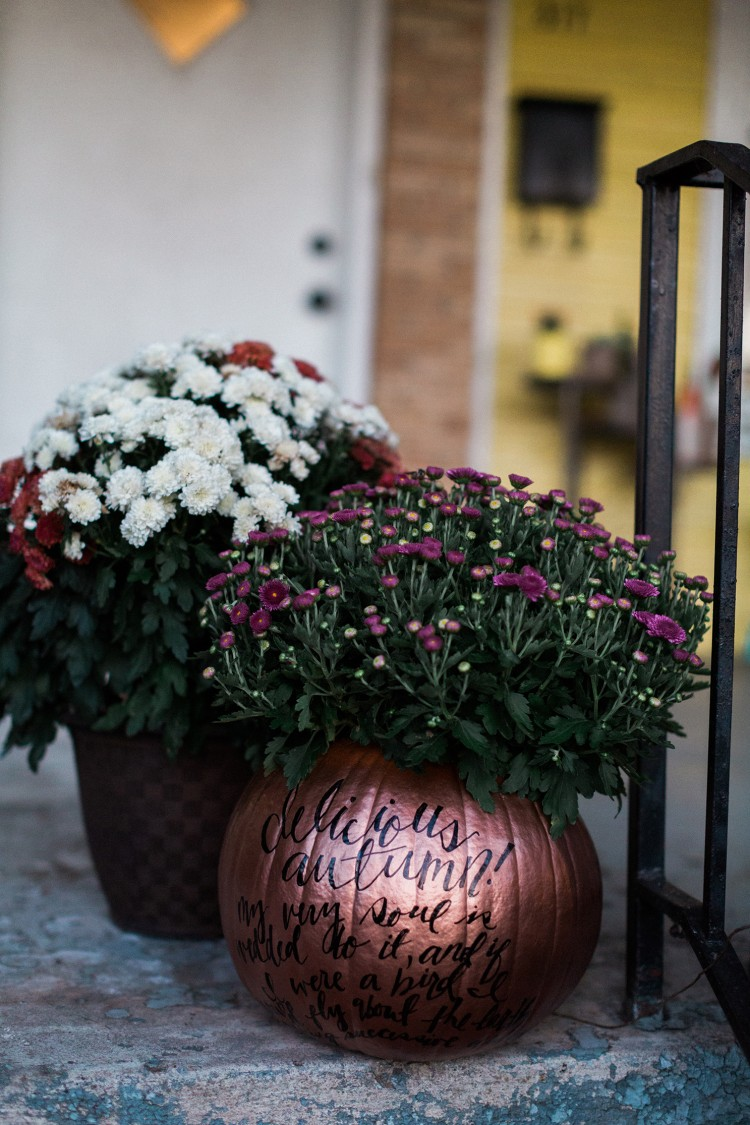 Use a pumpkin as a plant container for mums