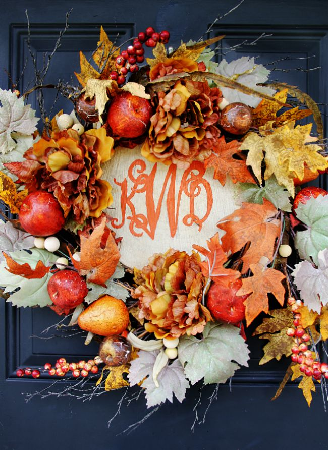 wood slice Fall wreath with monogram