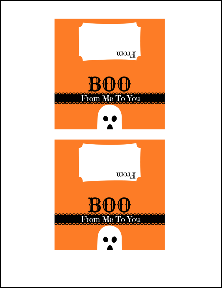 Boo From me to You Free Printable Bag Topper for Chocolate Marshmallow Ghost Treats | OHMY-CREATIVE.COM