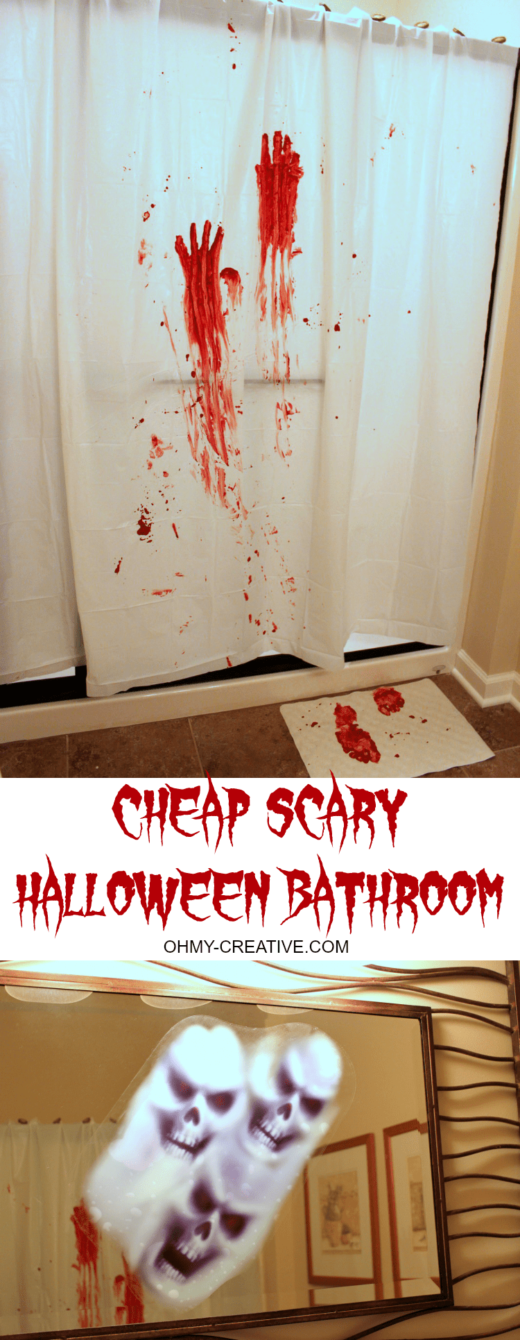 All it takes to make this Cheap and Scary Halloween Party Bathroom Decor is a trip to the dollar store for a few supplies and your guest will be in for a frightful surprise! | OHMY-CREATIVE .COM