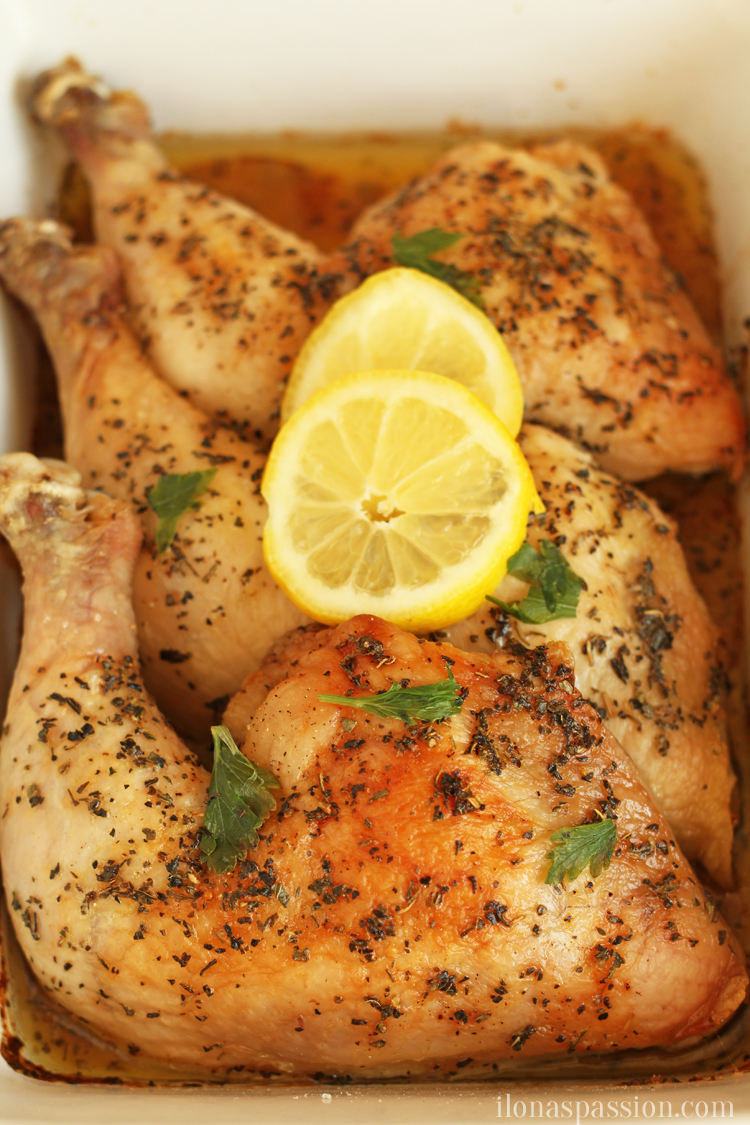 Easy to make Basil Baked Chicken Legs topped with butter I OHMY-CREATIVE.COM