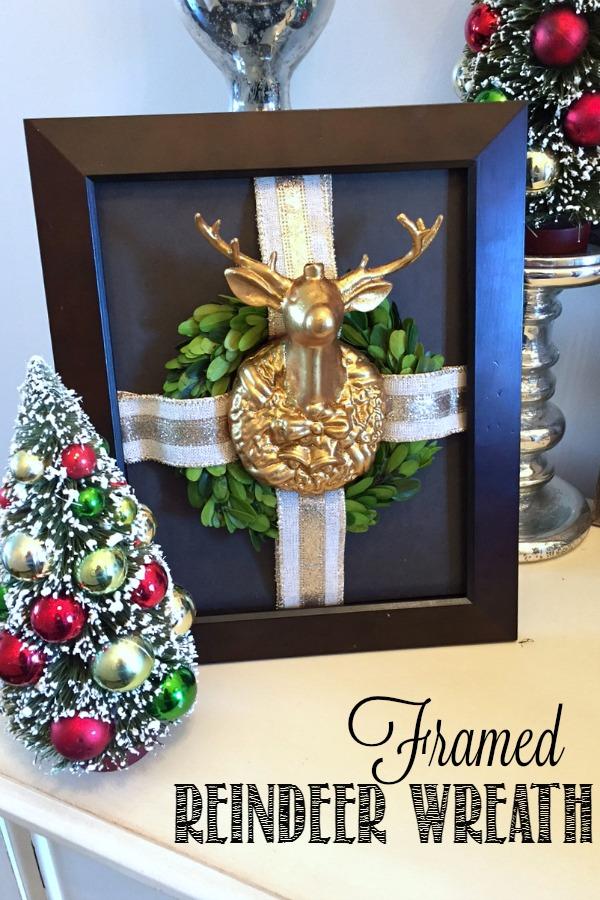 Framed Reindeer Wreath