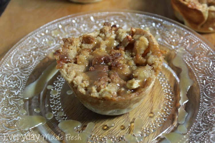 Mini Dutch Apple Pies with Caramel Sauce