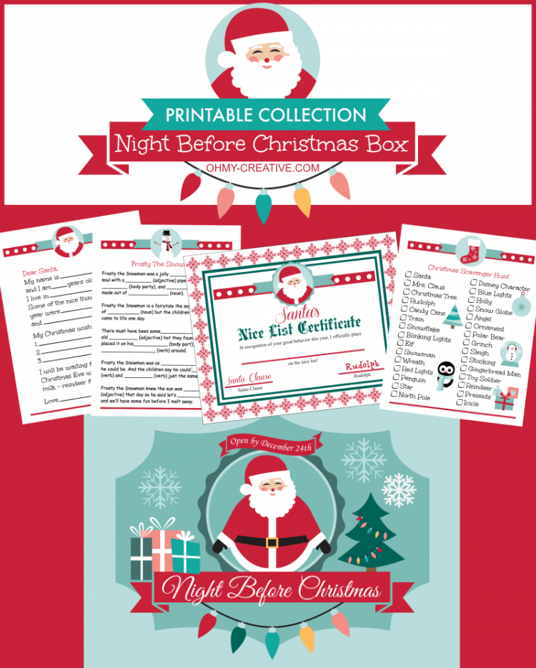 "From toddlers to teens start a new family tradition on Christmas Eve with this Night Before Christmas Box Printable Collection! Includes 18 Christmas Themed activity sheets, lunch box notes, games, Santa letter, ""Nice List"" certificate and an adorable printable label for the Christmas Eve box! Fun for all ages! 