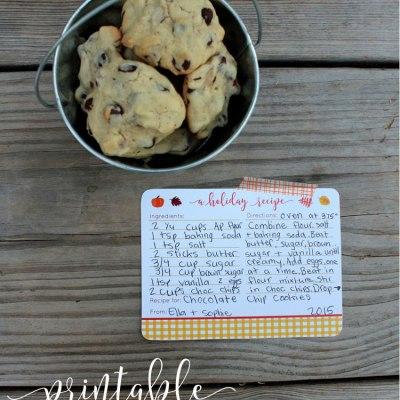 Printable Thanksgiving Recipe Cards