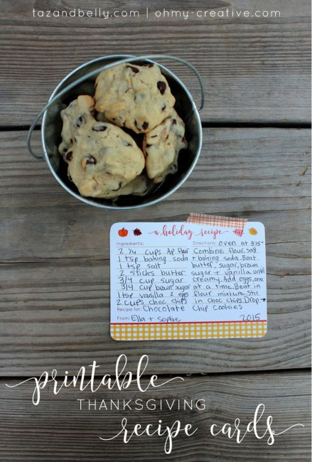 These Free Printable Thanksgiving Recipe Cards are perfect to pass down a family recipe, share a new dessert with friends, or even print multiples and tie them up with twine as an adorable gift.   Taz & Belly for OHMY-CREATIVE.COM