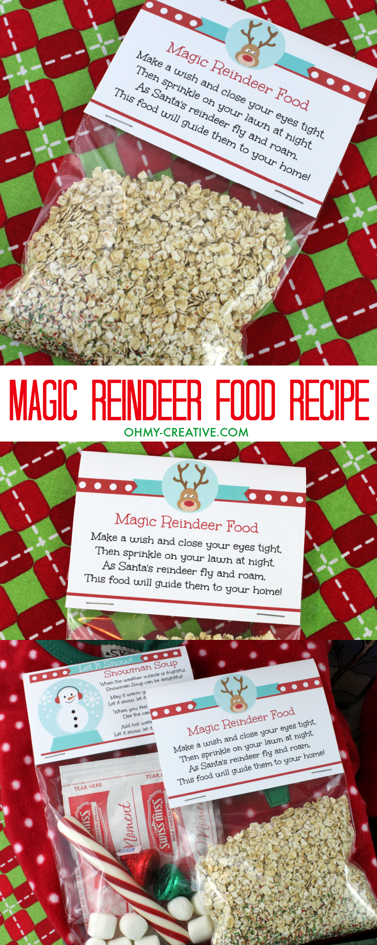 Magic Reindeer Food Recipe! | OHMY-CREATIVE.COM | Reindeer Food Poem | Reindeer Food Recipe | How to make Reindeer Food | Reindeer Dust Labels | Christmas Printables