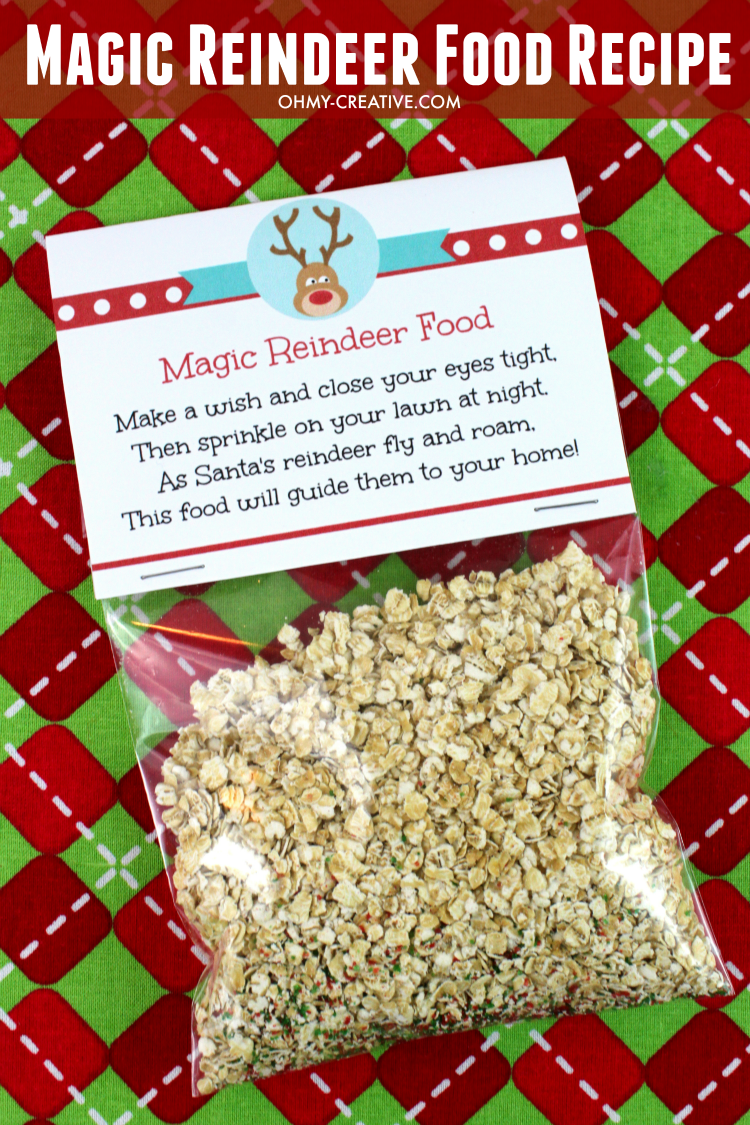 graphic about Reindeer Food Printable known as Magic Reindeer Food stuff Recipe and Printable - Oh My Artistic